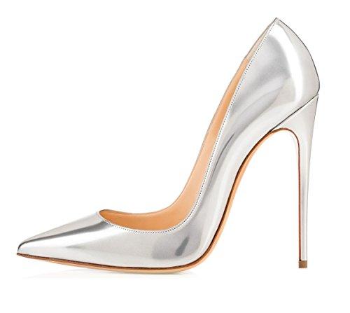 EDEFS Damen Spitze Pumps mit Pfennigabsatz High Heel Lack Schuhe Silber Größe EU43