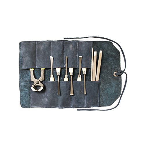 Hide & Drink, Leather Small Tool Roll, Handmade Includes 101 Year Warranty :: Blue Suede