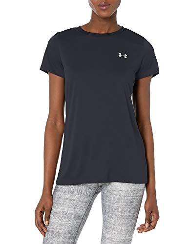 Under Armour Women's Tech Short Sleeve T-Shirt, Black (001)/Metallic Silver, XX-Large
