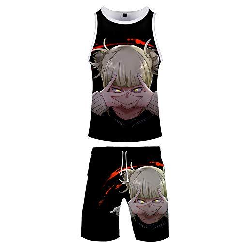 My Hero Academia Tank Tops + Strandshorts Set Unisex T-Shirts und Hosen 3D Digitaldruck Sommer Anime Weste Oberteile Ärmellos Anzug Sport Unterhemd Kurze & Hose Set Deku Todoroki Shouto