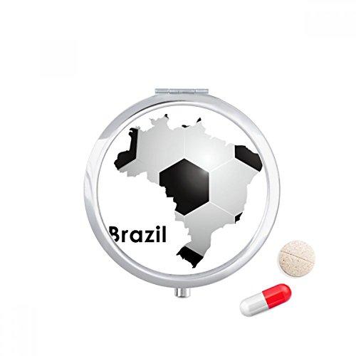 DIYthinker Voetbal Brazilië Kaart Vorm Brazilië Slogan Reizen Pocket Pill case Medicine Drug Storage Box Dispenser Spiegel Gift