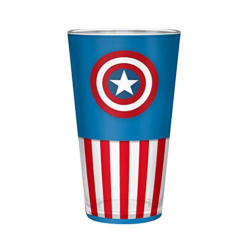 Captain america - glas XXL - logo - bierglas - 500 ml - blauw