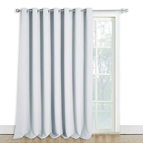 NICETOWN Sliding Room Divider for Space - Wide Width Thermal Drapes, Absorb Noise, Block Out Light, Blinds for Patio Door (Greyish White, Width 100 inches, Length 108 inches)