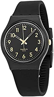 Swatch GB274 Golden Tac Black Gold Analog Dial Silicone Strap Unisex Watch New