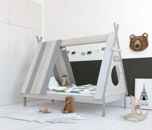 Möbilia® Bett Bett für Kinder, Zeltform, grau-weiß, 90x200 cm MDF L = 215 x B = 105 x H = 165 cm weiß, grau