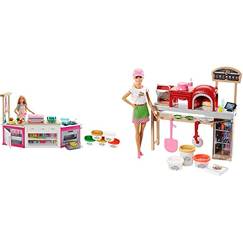 Barbie Quiero Ser Superchef, Cocina con Accesorios y muñeca (Mattel FRH73) + Quiero Ser Pizza Chef, muñeca y Accesorios (Mattel FHR09)