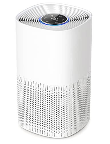 Luftreiniger H13 HEPA air purifier CADR 250m³/h bis zu 50m³ 99,97{a73c5c5c78e7f524ae70b172727e75bb6c8ac64be71f65957d7d659fb18abcdf} Filterleistung gegen Staub Tierhaare Rauch Aktivkohlefilter mit Auto Modus 3 Lüfterstufen Luftqualität Sensor 4 Timer