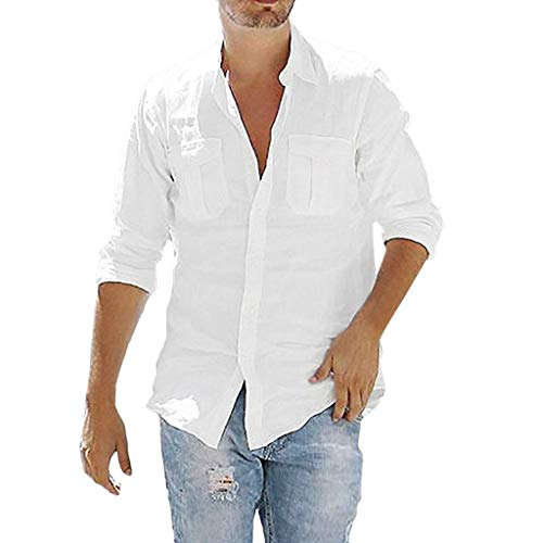 TUDUZ Camisetas Hombre Manga Larga Color Slido Camisas Algodon Y Lino Tops Bolsillo Ropa De Cuello V (Blanco, XXL)