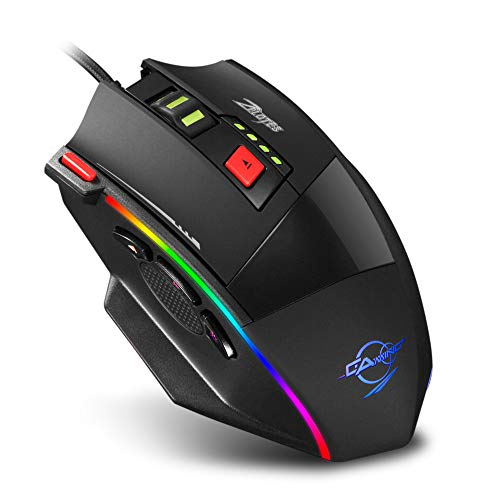 Zelotes C17 RGB Gaming Mouse,6400 DPI,8-Piece Weight Tuning Set,Ergonomic Mouse for Laptop, PC,Black