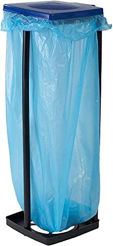 Afvalzakhouder met deksel, standaard voor vuilniszakken tot 120 liter en gele zakken, in hoogte verstelbaar, kunststof