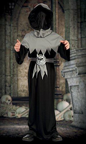 Boland- Costume Stregone Skull Demon per Bambini, Nero/Grigio, 10-12 anni, 78029