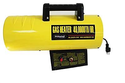 Hiland BGA1601-40k HIL-SHOP-LP40 Propane 40,000 BTU Forced Air Warehouse/Shop Heater w/Stand, Yellow