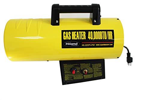 Hiland BGA1601-40k HIL-SHOP-LP40 propano 40.000 BTU calentador de aire forzado para almacén/tienda con soporte, amarillo