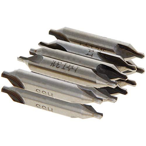 Utoolmart Broca central avellanadora Torno Broca Fresa, Taladros combinados Tipo A 3,15 mm x 8 mm, Juego de brocas de avellanador combinado, HSS-6542 avellanadores, 10 unidades