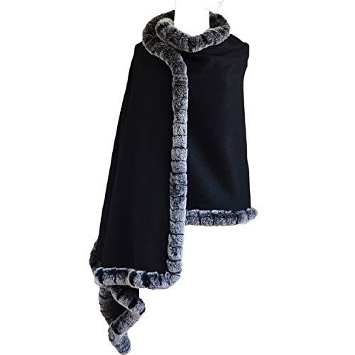 JennyJames Real Rex Fur Trim Premium Goat Cashmere Wrap, 80'L x28'W, Black