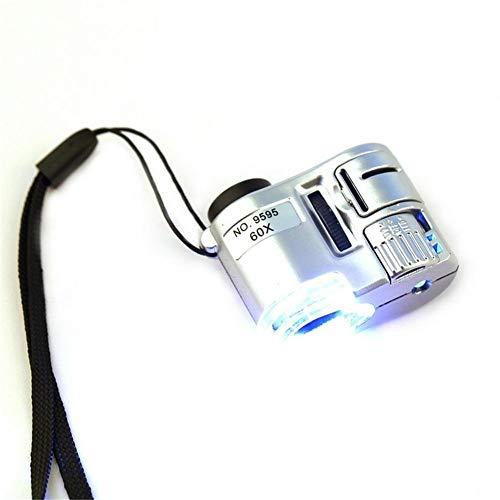 GYW-YW Lente Joyería Mini Lente 60X Lupa de Bolsillo LED microscopio con luz Ultravioleta Educación Foco Ajustable Detector de Billetes de Lupa
