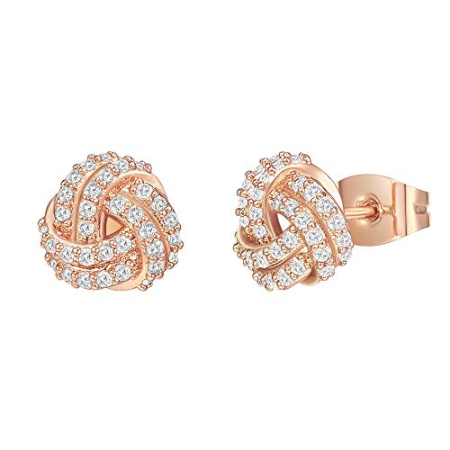 PAVOI 14K Gold Plated Sterling Silver Post Cubic Zirconia Love Knot Stud Earrings 14K Gold Plated in Rose Gold
