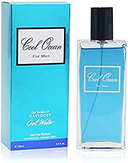 Cool Ocean Perfume for Men by Secret Plus, EDP- 3.4 oz, Inspired by Cool Water of Davidoff with a NovoGlow Pouch Included