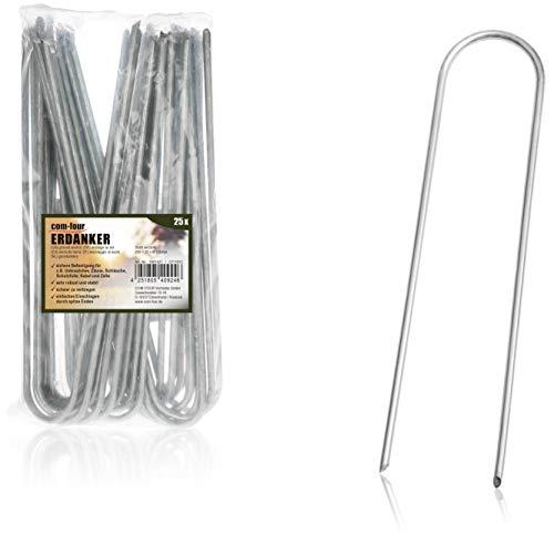 com-four® 25x Erdanker aus beschichtetem Stahl - robuste Erdnägel zur Befestigung von Unkrautvlies und Folien - Bodenanker für Garten und Camping - rund (025 Stück - 200x25x3.8mm)
