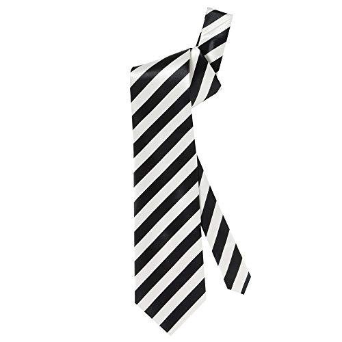 Widmann 2995P - Krawatte Black & White, 1 Stück, Einheitsgröße für Erwachsene, mit diagonalen Streifen, klassischer Schnitt, Accessoire, Zubehör, Verkleidung, Kostüm, Anzug, Party