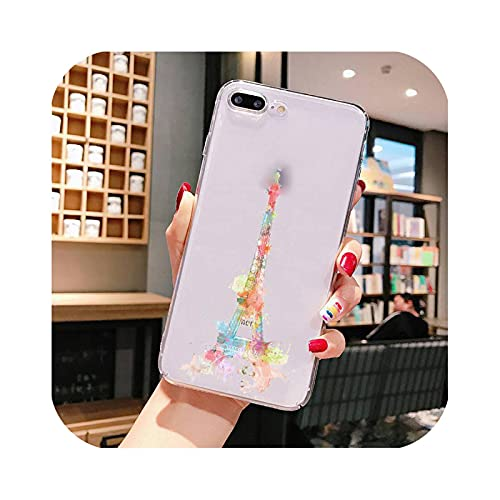 Carcasa para iPhone 7, diseño de Torre Eiffel para iPhone X XS Max 6 6s 7 7plus 8 8Plus 5 5S se 2020 XR 11 11pro Max transparente A5 para iPhone 7 Oro 8