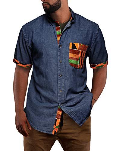 Mens Short Sleeve African Shirt Chambray Denim Tribal Dashiki Buttoned Down Collar Casual Shirts