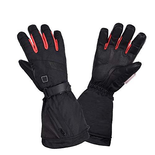 QHGao handschoenen voor buiten, waterdicht, 3 soorten verwarmingsinstellingen voor skiën kamperen en vissen op motorfiets, stand-by 4 uur, verwarmingssysteem waterdicht, L