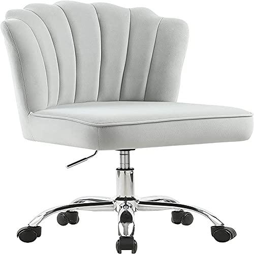 MOME Silla de oficina para el hogar cómoda, silla de escritorio tapizada de tela de terciopelo con marco dorado para niñas, silla de recepción ajustable de 360°