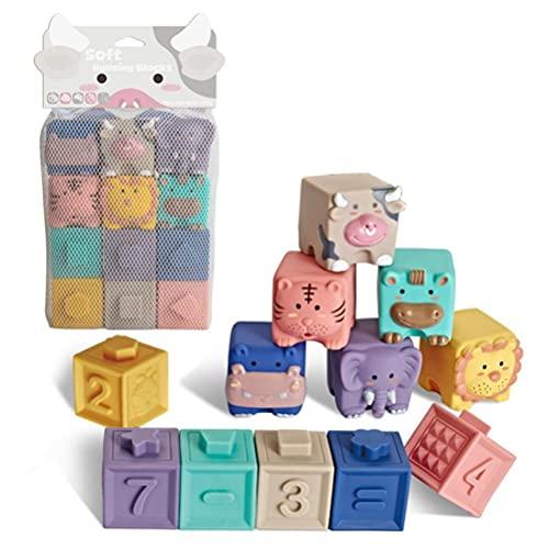 XOYZUU Bloques de bebé, bloques de construcción suaves juguetes para bebés, mordedores, juguete educativo para apretar con números, formas de animales, texturas de 6 meses y hasta 6/12 unidades