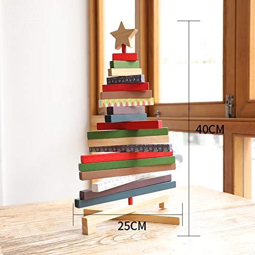 Creativo País Decoración De La Mesa Con Estrella De La Carta Para La Decoración De Navidad Decoración De Escritorio De Navidad Rústica,Madera Maciza Colorido Árbol De Navidad Decor-El árbol De Navidad