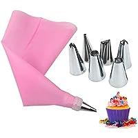 Tukcherry 8pcs Boquillas para Manga Pastelera Incluyendo Boquillas de Acero Inoxidable, Bolsas de Pastelería, Acopladores, Pasteles para Hornear Juego de Decoración para Cupcakes (P1)