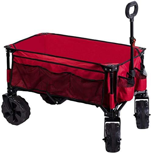 Timber Ridge Bollerwagen faltbar Handwagen klappbar Faltwagen Transportwagen Strandwagen Gartenwagen groß für alle Gelände mit Seitentasche Getränkehalter (Rot)