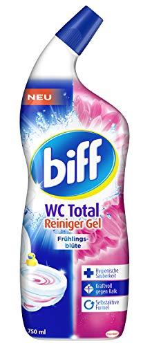 Biff WC Total Reiniger Gel Frühlingsblüte, 750 ml, hygienische Sauberkeit und kraftvoll gegen Kalk