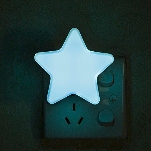 Fibgihc Luz LED de emergencia, luz nocturna, linda estrella de ABS, lámpara de recámara para niños, Azul, US