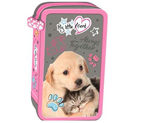 Hund Katze Dog Cat Little Friend 3-Fach 43 x Teile gefüllt FEDERTASCHE FEDERMAPPE FEDERMÄPPCHEN mit Sticker von Kids4shop