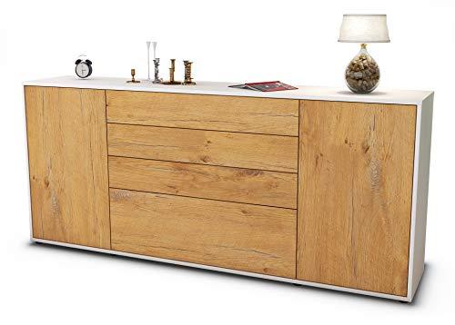Stil.Zeit Sideboard Eleni/Korpus Weiss matt/Front Holz-Design Eiche (180x79x35cm) Push-to-Open Technik & Leichtlaufschienen