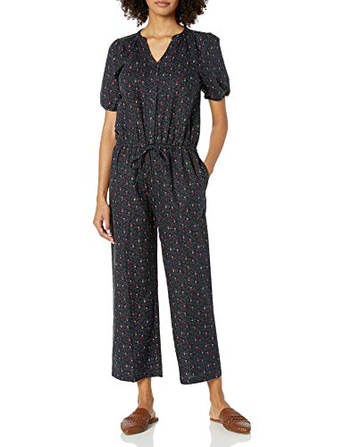 Goodthreads Washed Linen Blend Button Front Jumpsuits-Apparel, Navy Mini Floral, US 8 (EU M)