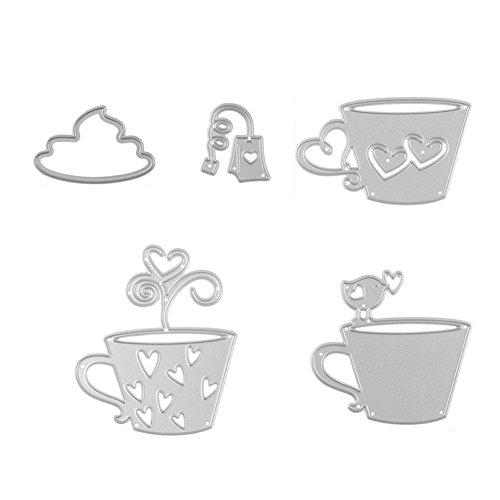 Whiie891203 Stanzschablone Stanzmaschine,5 Teile/Satz Teebeutel Kaffeetasse Metall Prägeschablonen Schablonen Stanzformen für DIY Scrapbooking, Fotopapier,Schneiden Papier Karten Sammelalbum Dekor