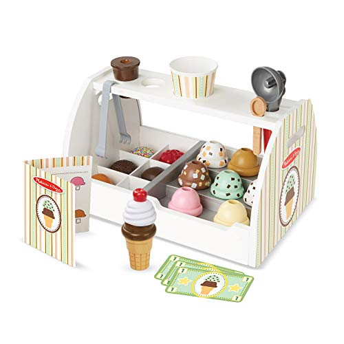 Melissa & Doug - Set de 28 piezas de madera para preparar helados, Wooden Ice Cream Counter (19286) , color/modelo surtido