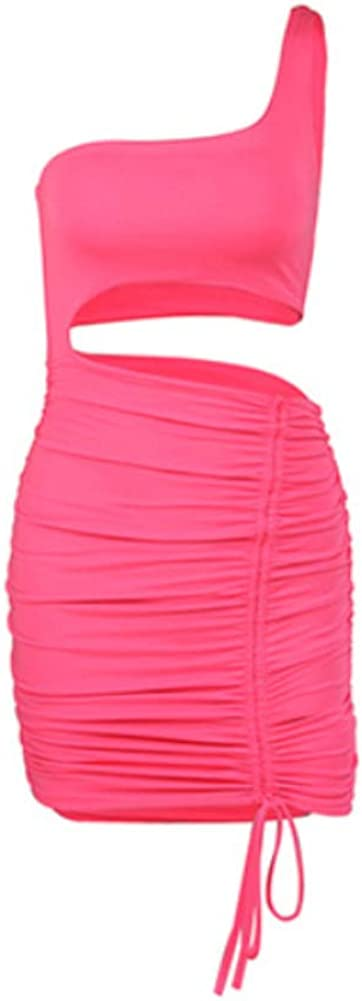 HaHawaii Women's Dress,Sexy Women One Shoulder Hollow Out Ruched Drawstring Bandage Bodycon Mini Dress