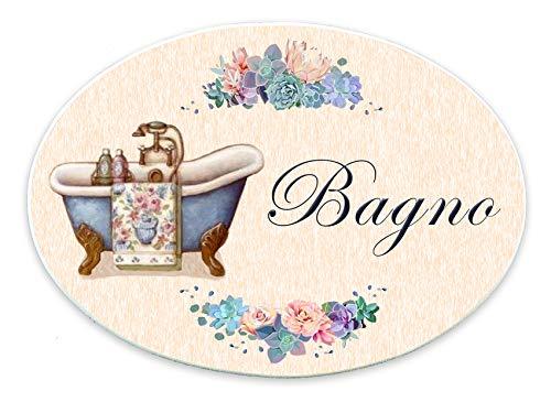 Domus Artis Targhe per Porta Shabby Chic Cucina Bagno cameretta Ovale 20x15 (Bagno 101)