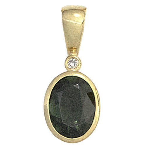 Anhänger mit Turmalin grün oval & Diamant Brillant 585 Gold Gelbgold Damen