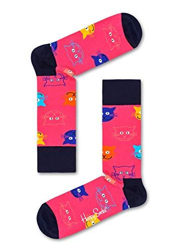 Happy Socks – Gemischt farbenfrohe Geschenkbox an Baumwollsocken für Männer & Frauen, Cat Gift Box, 41-46