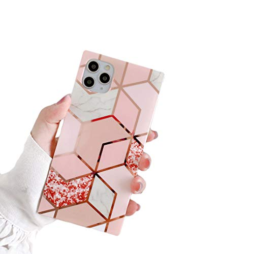 """Cocomii Square Geometric Marble iPhone 12 Pro Max Case, Slim Thin Glossy Soft TPU Silicone Rubber Gel Trunk Box Square Edges Bumper Cover Compatible with Apple iPhone 12 Pro Max 6.7"""" (Pink/Glitter)"""