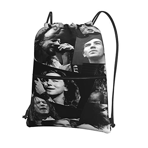 Layne Staley - Mochila deportiva con cordón, bolsa deportiva con cremallera exterior, mochila impermeable con cordón, bolsa de viaje para niños o niñas