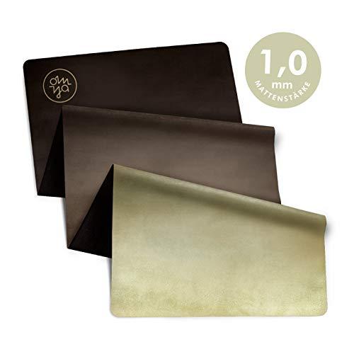 OM YA Design Yogamatte - rutschfest - dünn & leicht faltbar - 1,0 mm - ökologisch aus Naturkautschuk - Oberfläche Mikrofaser - Ideal für Hot Yoga, Bikram, Pilates, Ashtanga (Limestone Oat)