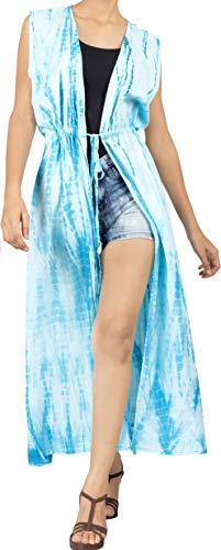 LA LEELA Mujer Algodón Largo teñido Anudado Kimono Chaqueta de Punto para Camisa Playa Capa Bikini Cubren Punta Kimono Ghosts Blanco_A803