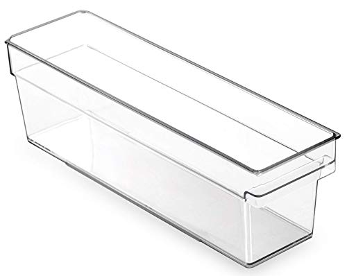 BINO Clear Plastic Storage Bin with Built-In Pull Out Handle - (Standard, Small) - Storage Bins for Home, Kitchen, and Bath - Refrigerator, Freezer, Cabinet, Closet, Pantry Organization and Storage