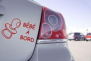 Zone-Stickers Sticker Voiture Bébé à Bord Sucette - 10cm x 6,5cm, Rouge