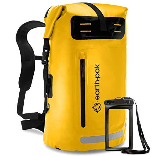 Earth Pak Summit Serie wasserdichter Rucksack, Backpack mit leistungsstarkem Reißverschluss und Rolltop, wasserfester Handyhülle Gelb 35L